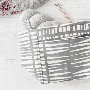 Retro Gray IKAT Project Bag