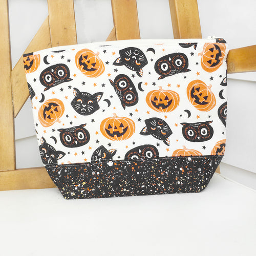 Fall Pumpkin & Black Cat Zippered Project Bag