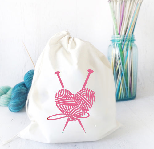 Pink Heart Drawstring Project Bag