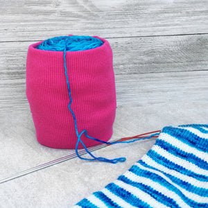 Hot Pink Ribbed Skein Coat Yarn Keeper