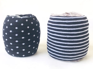 Set of 2 Black & White Polka Dot & Striped Skein Coat