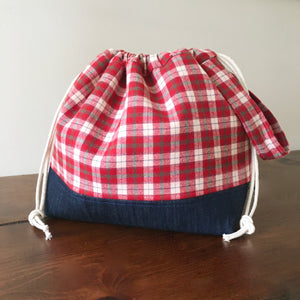 Rustic Christmas Red Plaid Drawstring Project Bag