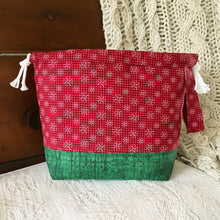 Christmas Red Snowflake Drawstring Project Bag