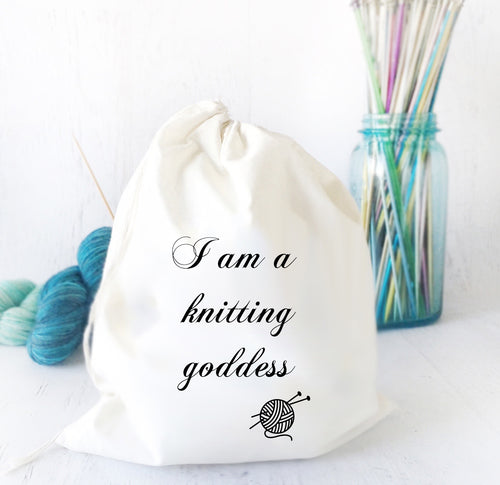 Drawstring Knitting Bag Gift for Knitter