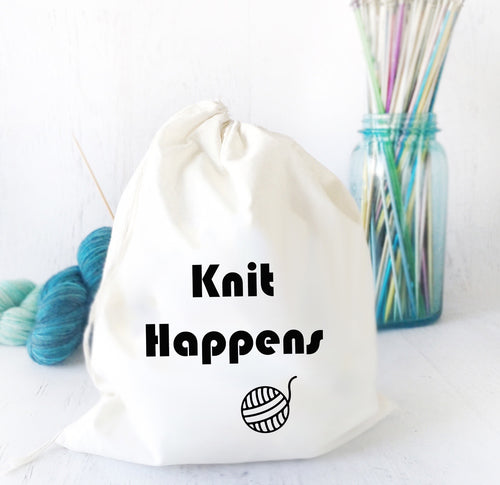 Knit Happens Cotton Canvas Project Bag