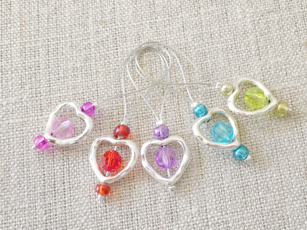 Set of 5 Heart Knitting Stitch Markers