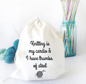 Cotton Canvas Knitting Humor Project Bag - Knitting is My Cardio