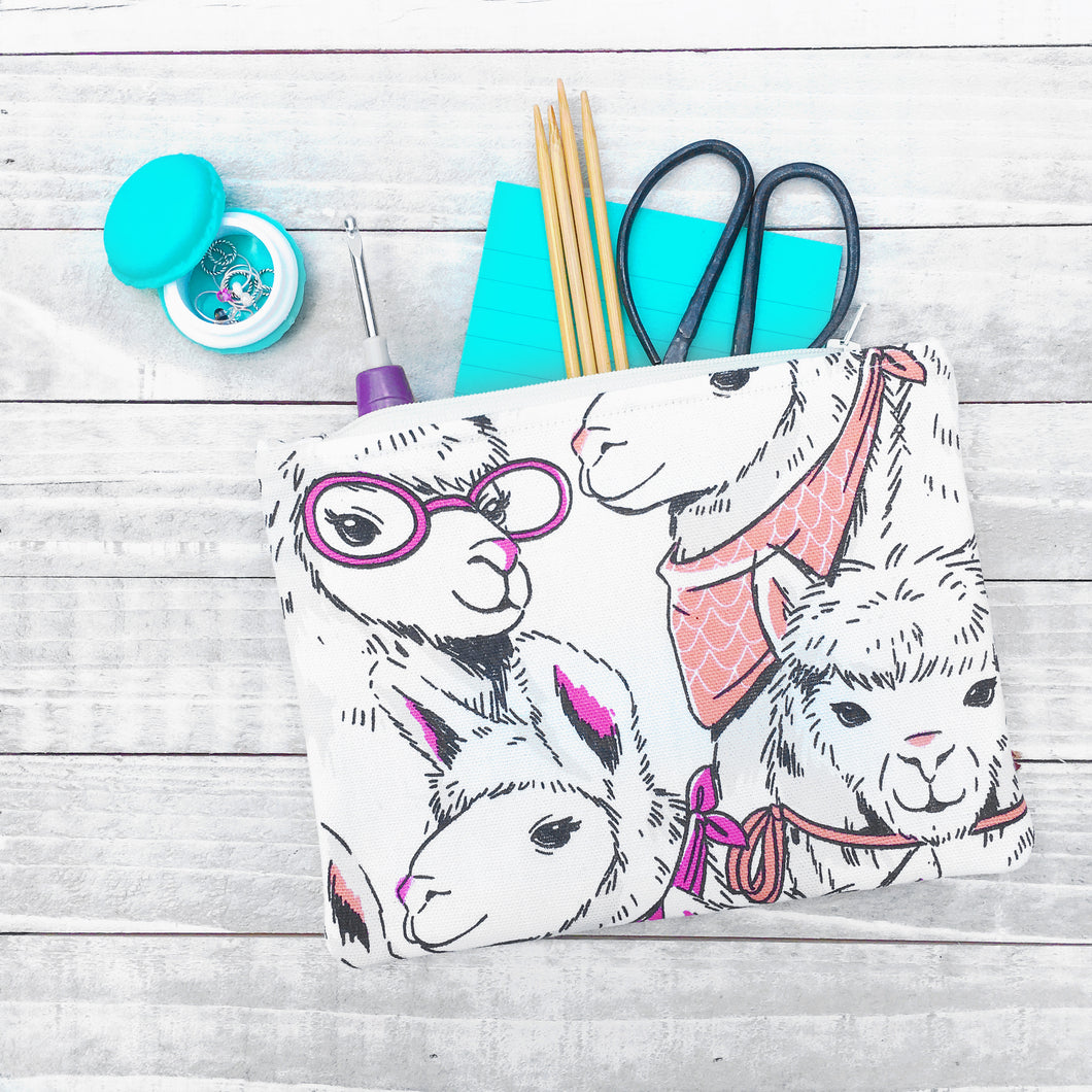 Llama Love Zippered Pouch