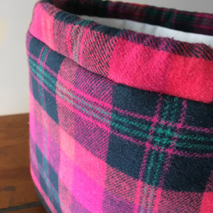 Merry But Bright Pink Plaid Drawstring Project Bag