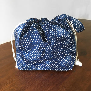 Navy IKAT Jumper Drawstring Project Bag