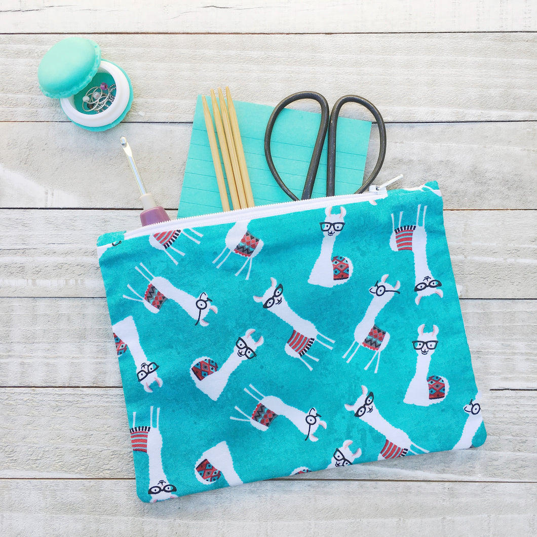 Teal Nerdy Alpaca Zippered Pouch