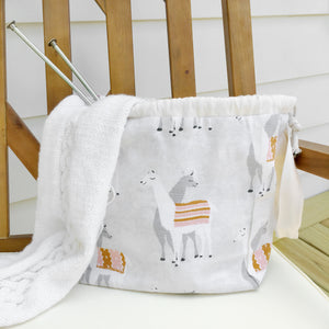 Natural Llama Drawstring Jumper Project Bag