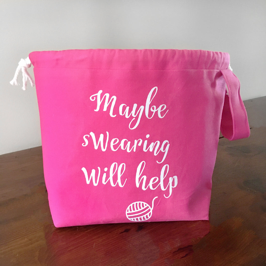 Maybe Swearing Will Help Drawstring Project Bag