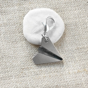 Silver-Toned Paper Airplane Stitch Marker