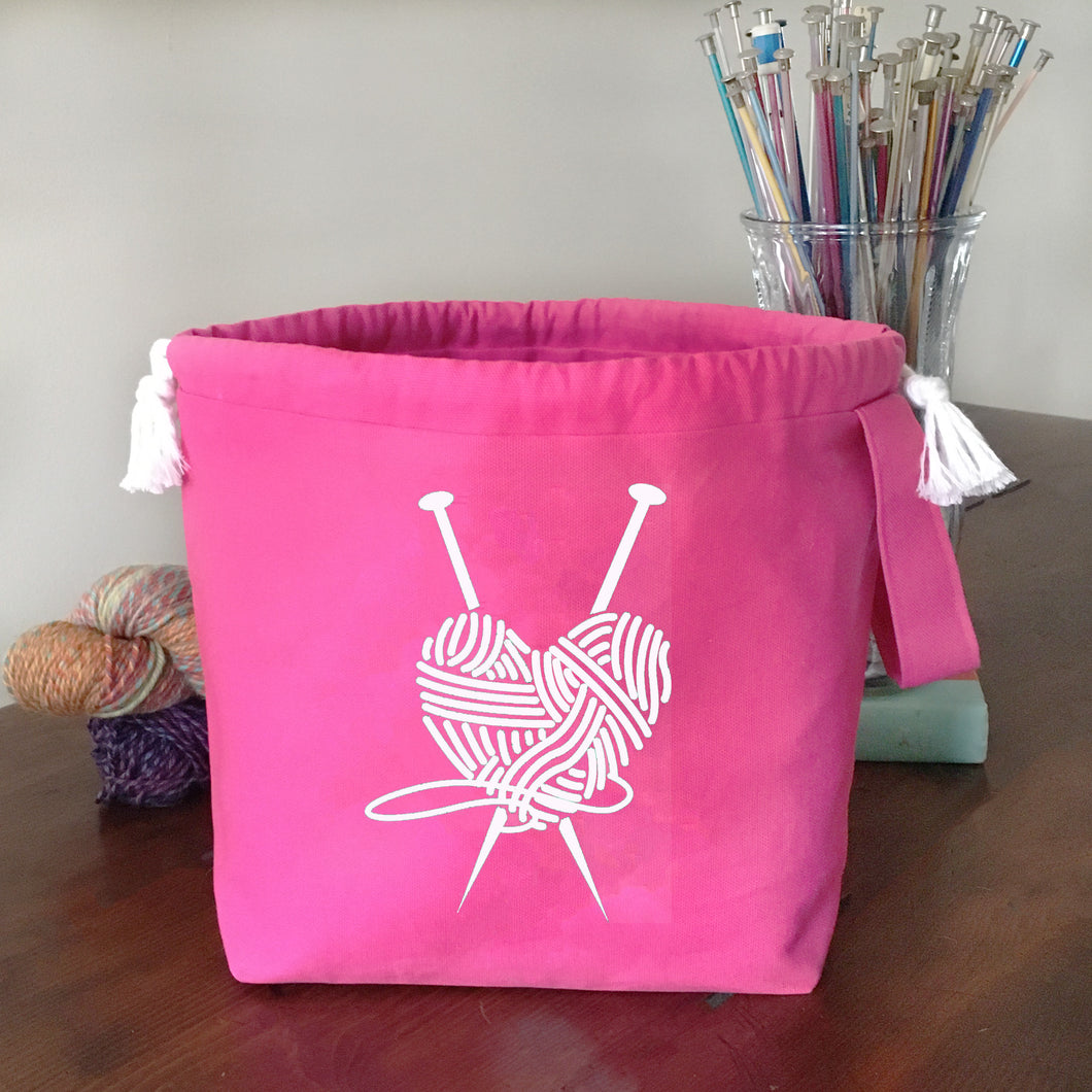 Knit Heart Drawstring Project Bag