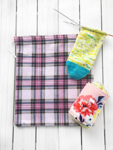 Pink Flannel Project Bag for Knitting & Crochet