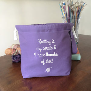 Knitting is My Cardio Drawstring Project Bag