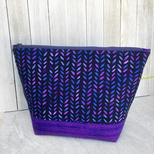 Purple Watercolor Knit Stitch Zippered Project Bag