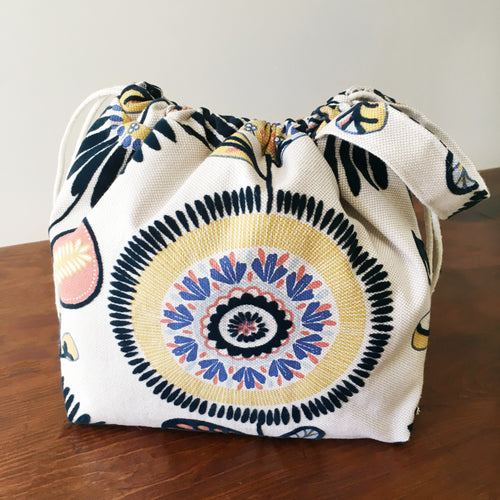 Luxury Sunflower Linen Drawstring Project Bag