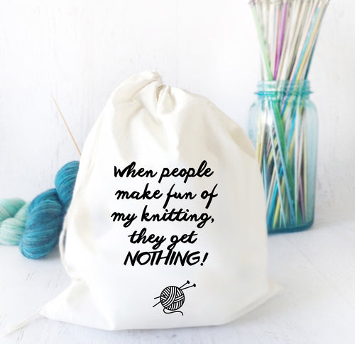 Funny Drawstring Project Bag for Knitting or Crochet