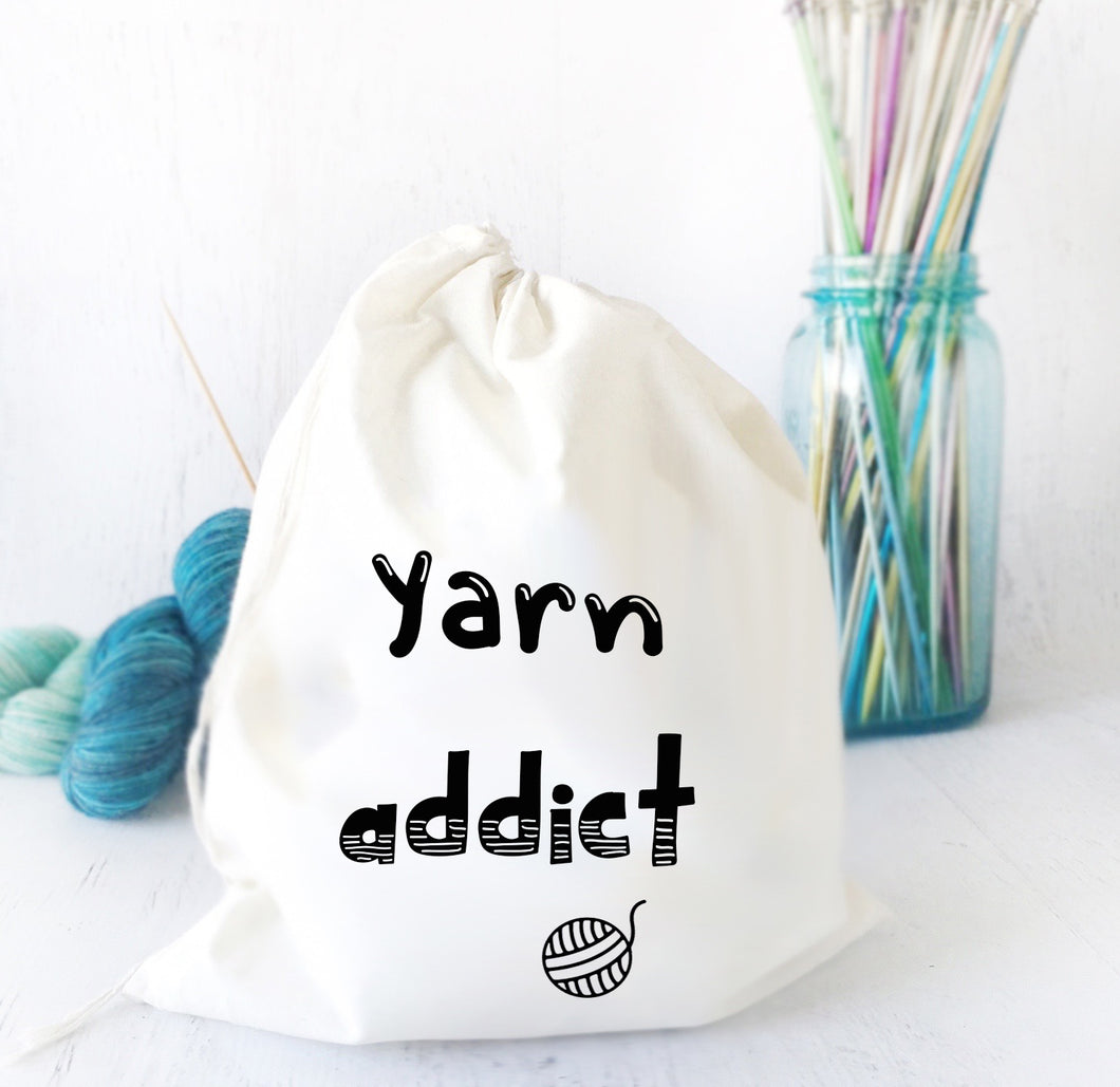 Drawstring Bag for Knitting & Crochet Projects - Yarn Addict