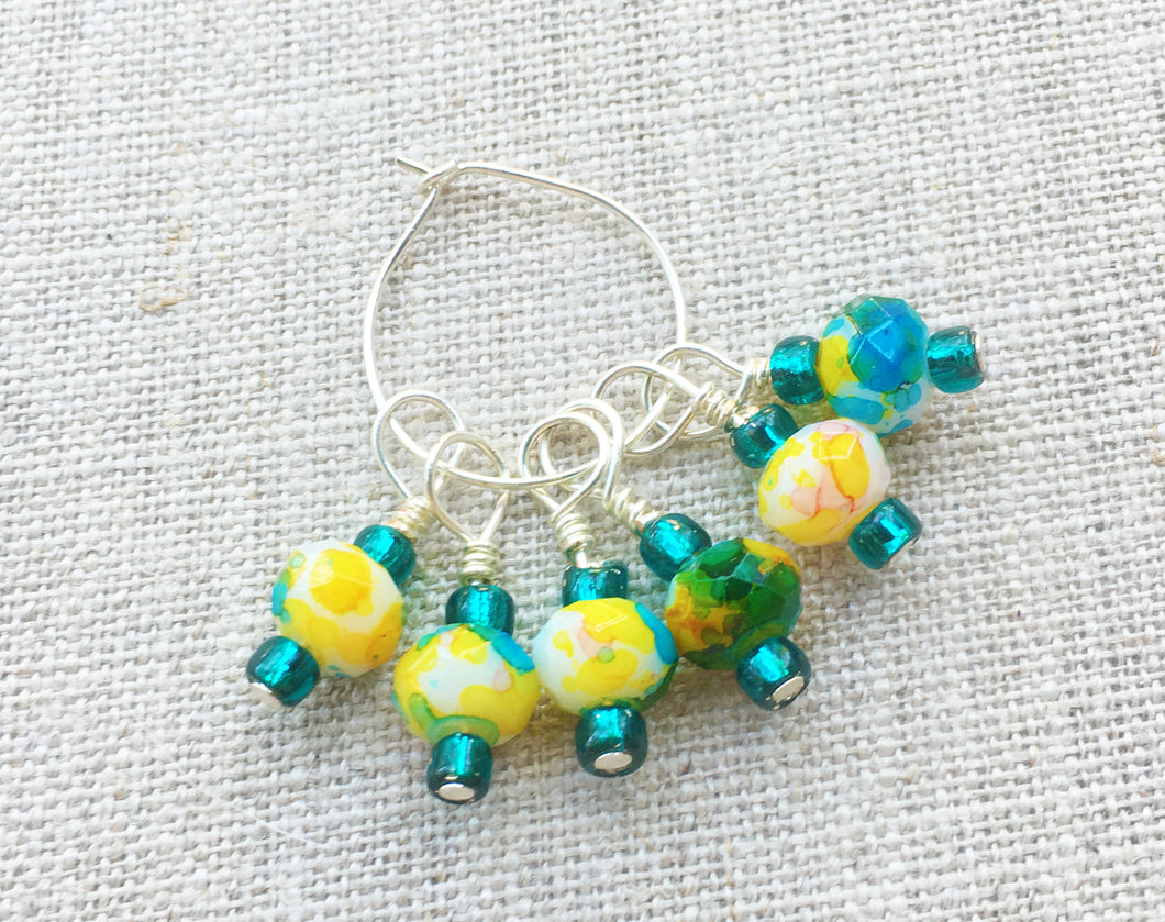 Set of 6 Blue & Green Knitting Stitch Markers