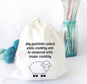 Funny Drawstring Bag for Knitting & Crochet Projects