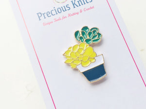 Yellow Potted Cactus Enamel Pin for Project Bags