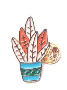Salmon & Orange Potted Cactus Enamel Pin