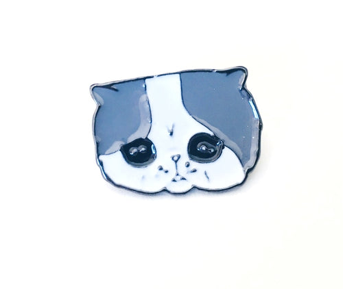 Sad Face Cat Lover Enamel Pin Gift for Knitters & Crocheters
