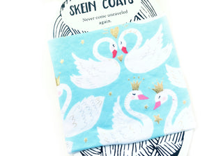 close up view of the swan printed fabric