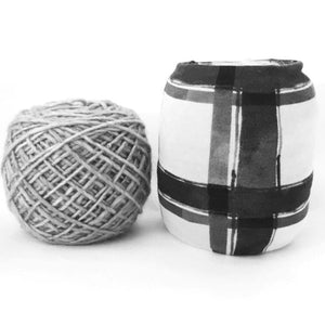 Black & White Plaid Yarn Bowl