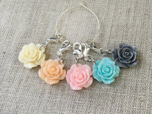 set of 5 stitch markers with rose flowers in yellow orange pink blue and gray for knitting and crochet