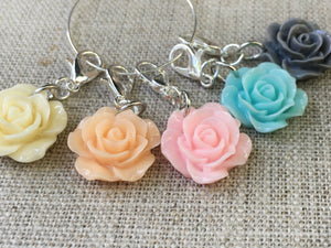 side view of colorful flower stitch marker set for knitting and crochet