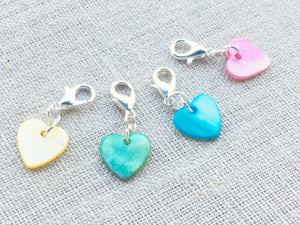 side view of heart shaped shell removable stitch markers for knitting and crochet