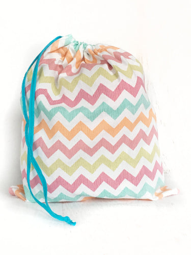 Colorful cotton chevron drawstring project bag for knitting and crochet
