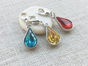 jewel toned teardrop stitch markers with silver toned accents for knitting and crochet