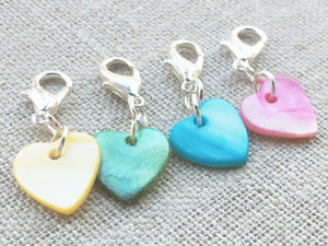 genuine shell heart shaped removable stitch markers with silver toned details