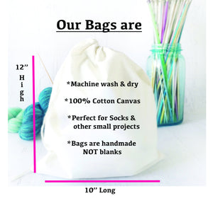 shows actual size how each bag is constructed and screen printed by hand