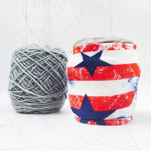 patriotic yarn holder with read and white stripes along with blue stars