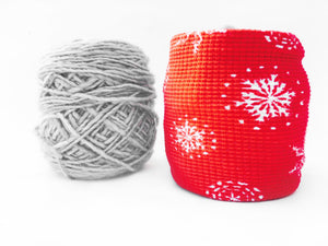 Red & White Snowflake Yarn Holder