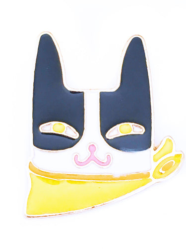 mischievous black and white Cat robber enamel pin with yellow scarf