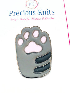 Gray & Black Enamel Cat Paw Pin