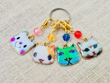 enamel cartoon cat stitch markers for knitting and crochet