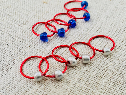Snag-Free Patriotic Ring Stitch Markers Set