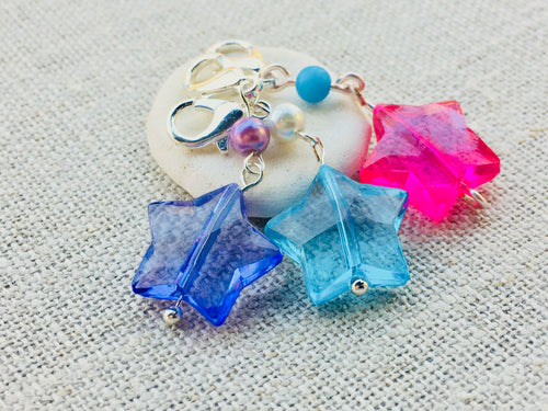 purple blue and pink acrylic star stitch markers with silver lobster claw closure