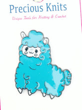 fluffy blue sheep enamel pin with dark silver toned back