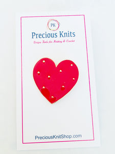 Red Enamel Heart Pin with Gold Toned Polka Dots