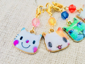 Enamel Cat Lover Stitch Markers