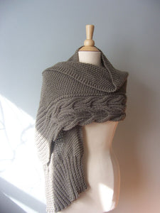 finished Aspen Wrap shown on a model as a shawl